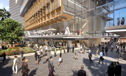 A rendering of a retail area at Parramatta Square